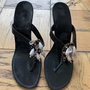 Authentic Manolo Blahnik Crystal Thong Sandals